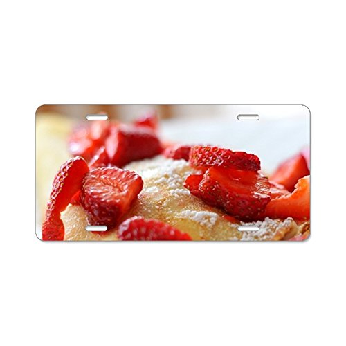 (Red Summer Fruits Pancakes Car Plate Tag Accessories Metal License Plate Frame (New) 12