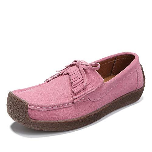 565023e9d3fb6 StarttWin Women Platform Loafers Shoes Bowknot Tassel Round Toe Soft Non  Slip Comfort Slip on Moccasins