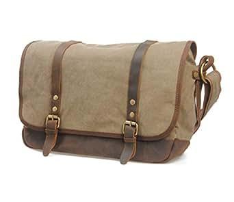 Mens Bag Messenger Bag Color: Khaki Simple Retro Zipper Waterproof Canvas Briefcase Shoulder Bag High capacity (Color : ArmyGreen)