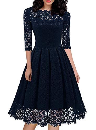 Women's Vintage 1940s 30s Bridesmaid Floral Lace Cocktail Party A-Line Dress Semi-Formal Homecoming Formal Dressee 595 (L, Drak Blue)