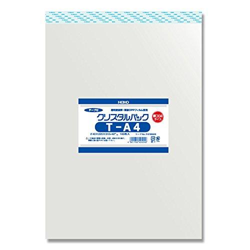 ヘイコ? 투명 OPP 봉투 크리스탈 팩 테이프 첨부 A4 두께 입 100 매 04T-A4 / Hayko Transparent OPP Bag Crystal Pack with Tape A4 Thick Mouth 100 pcs 04T-A4