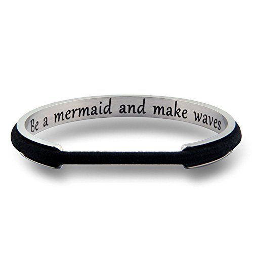 WUSUANED Be A Mermaid and Make Waves Hair Tie Grooved Cuff Bangle Bracelet Inspirational Gift for Her (be a Mermaid Silver)