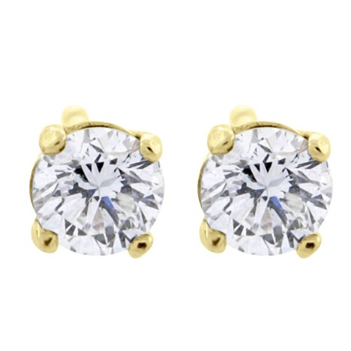 0.06 Ct Diamond Fashion (0.06 ct tw Small Four Prong Diamond Stud Earrings 14K Yellow Gold)