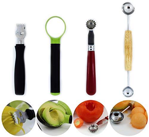 Lemon zester tool - Strawberry corer - Tomato core remover - Melon baller scoop - Avocado slicer pitter ()