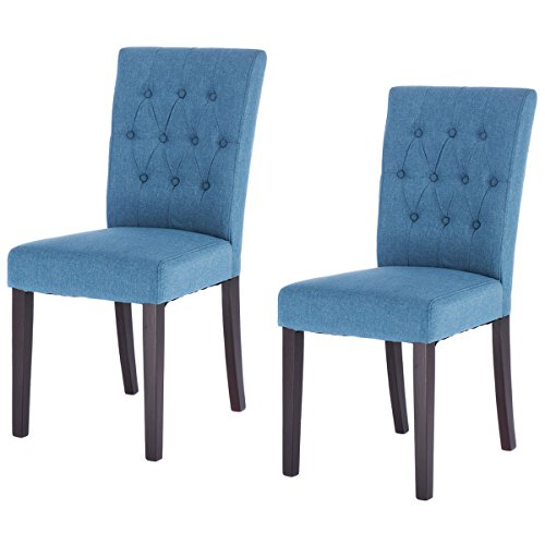 Giantex 2PCS Fabric Dining Chairs Wood Legs Tufted Linen Upholstered Modern Style Comfortable Padding High Back Dining Room Chairs Set of 2 Living Room Chair, Blue