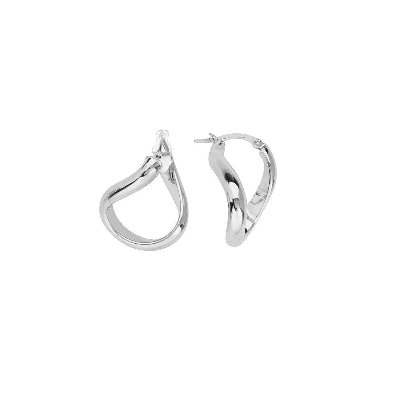 Amazon 14k White Gold Wide Wave Hoop Earrings Jewelry
