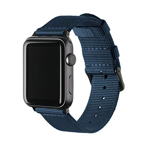 Archer Watch Straps | Premium Nylon Replacement Bands for Apple Watch (Navy, Black, 38mm)