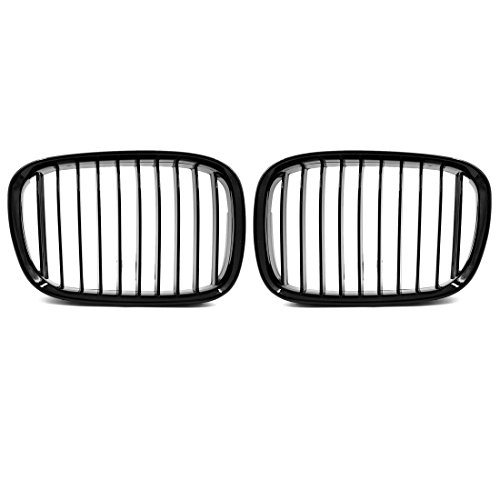 uxcell 2pcs Glossy Black Front Kidney Grille Grill for 1997-2003 BMW E39 5 Series 525i 528i 530i 540i M5 ()