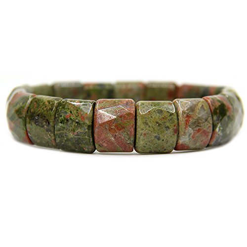 Amandastone Natural Unakite Genuine Semi Precious Gemstone 15mm Square Grain Faceted Beaded Stretchable Bracelet 7
