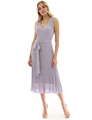 PattyBoutik Women V Neck Pleated Midi Knit Dress (Light Lilac Gray X-Large) (Pleated Knit Dress)