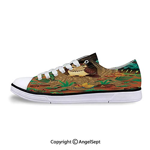 Sneaker Grandma Owl in The Chestnut Flat Canvas Shoes for Womens