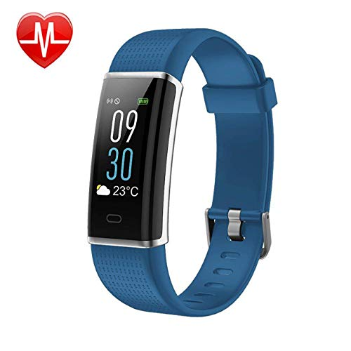 KARSEEN Unisex Adult Activity Tracker Fitness Watch Heart Rate Monitor Colorful OLED Screen Smart Watch Sleep Monitor, Step Counter, IP68 Waterproof Pedometer(Blue) ()