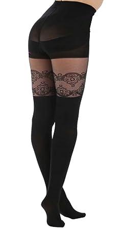 Pamela Mann Collant gainant fantaisie noir  Amazon.fr  Vêtements et  accessoires 8fb4ed472bc