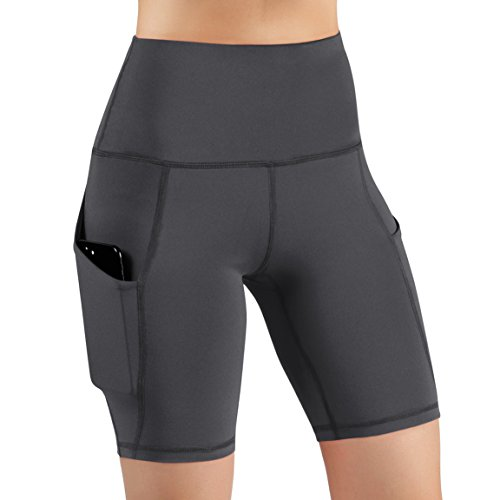 ODODOS High Waist Out Pocket Yoga Shots Tummy Control Workout Running 4 Way Stretch Yoga Shots, Gray, X-Large by ODODOS (Image #1)