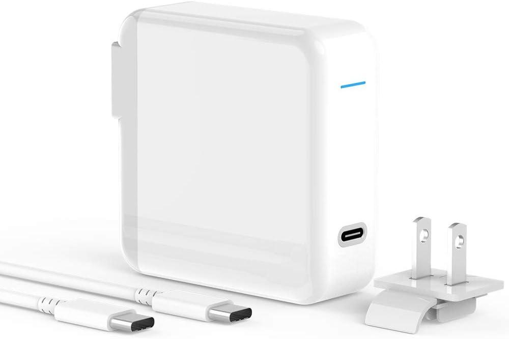 Travel USB C Charger for MacBook Pro, MacBook Air, iPad Pro 12.9, 11, 61W Thunderbolt 3 Port USB C Power Adapter, Replaceable USA/UK/EU Plug Adapter, 6.6ft USB C-C Cable, Worldwide International USB C