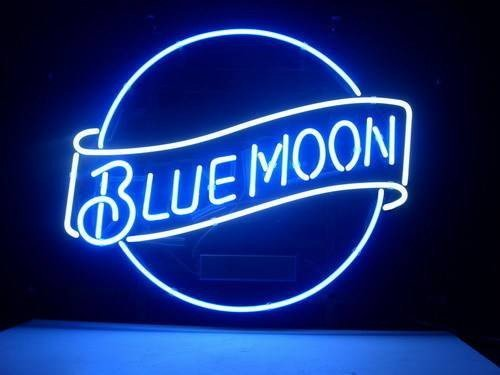 Blue Moon Beer Neon Sign 17w x 14h, Handmade Glass Tube Neon Light Sign for Home Bar Pub Game Room and Recreation Decor Gifts