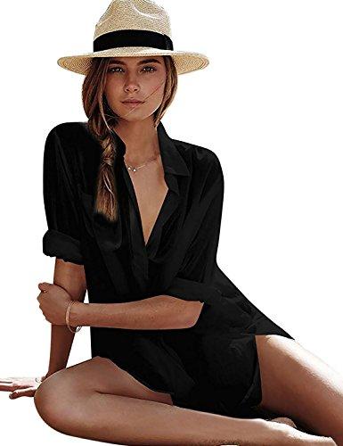 Fasker Womens Bathing Suit Swimwear Beach Bikini Swimsuit Shirt Cover up Dress,A-BLACK, ONE SIZE FITS MOST