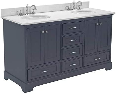 Harper 60-inch Double Bathroom Vanity Quartz Charcoal Gray Includes Charcoal Gray Cabinet with Stunning Quartz Countertop and White Ceramic Sinks