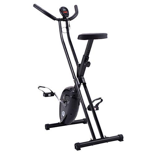Goplus Folding Exercise Bike Cardio Workout Upright Cycling Magnetic Fitness Stationary (Black)