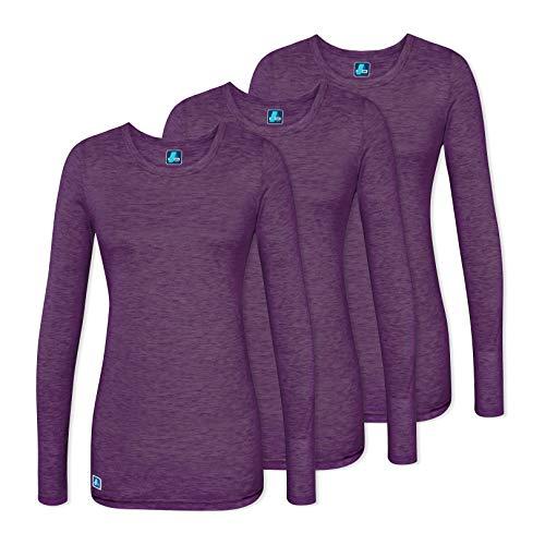 Adar 3 Pack Women's Comfort Long Sleeve T-Shirt/Underscrub Tee - 2903 - Heather Eggplant - S ()