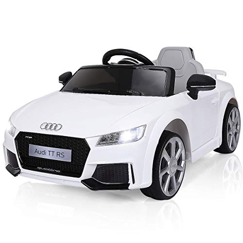 Costzon Kids Ride On Car, 12V Licensed Audi TT RS, Battery Powered Electric Ride On Vehicle w/ 2.4G Parental Remote Control, MP3, Lights, Horn, Opened Doors, High/Low Speeds, White