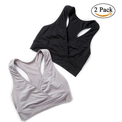Gratlin Women's Maternity Soft Wrap Wireless Elastic Nursing Sleep Bra Black/Grey L