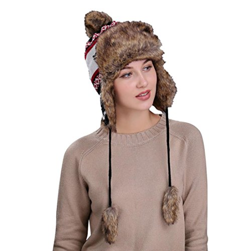 Fheaven Warm Women Winter Hat with Ear Flaps Snow Ski Thick Lined Knit Wool Beanie Cap Hat (Black) (Flap Striped Hat)