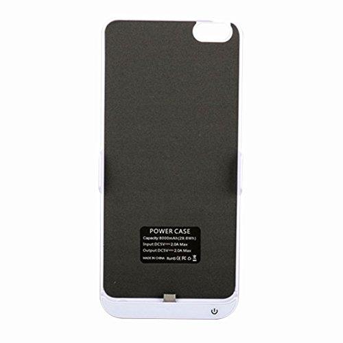 Vivo X7 Plus Funda Batería, LifeePro para Vivo X7 Plus Portable Charging Case 8000mAh Recargable Externo Portátil Power Bank Backup Cubierta Protectora de Carga Caja de Batería Carcasa (Rose Gold) Blanco
