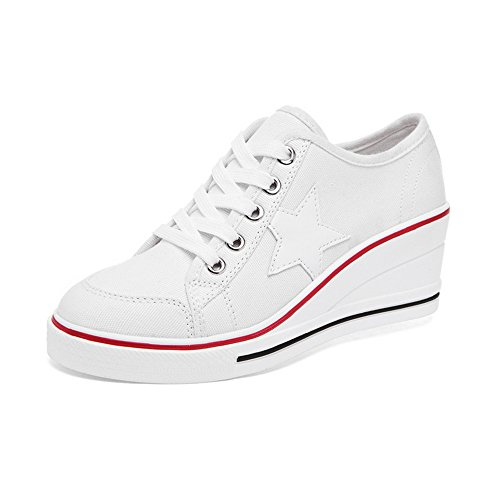 OCHENTA Damen Sneaker Pumps Keilabsatz Canvas High Heels Plattform Schick Bequem Turnschuhe Freizeitschuhe #3 Weiß