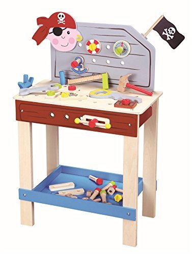 Lelin Wood Wooden Pirate Tool Bench Pretend Role Play Toy Set by LELIN by Lelin