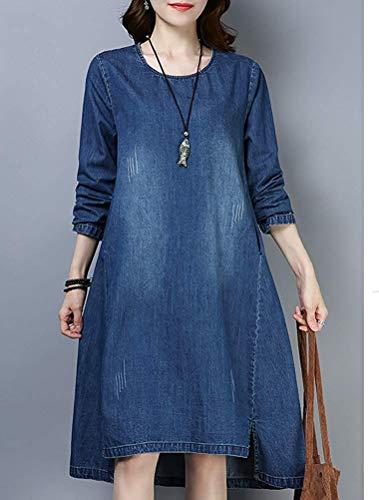 Lunga colore blue Manica Qiusa A Con Denim Abito In 1 Camicia Dimensione Lunghe blue Style Da 2 Donna Maniche Trapezio M Oxq0pCSwq