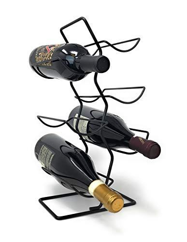 Metal 6 Bottle Countertop Wine Tree Rack (Matte Black)