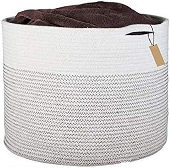 HBIAO Cestos de Lavadora para Ropa Sucia Tejidas en algodón, Canasta de Manta Grande Canasta Tejida Cesta de lavandería para bebé Juguete Almacenamiento Decorativo: Amazon.es: Hogar