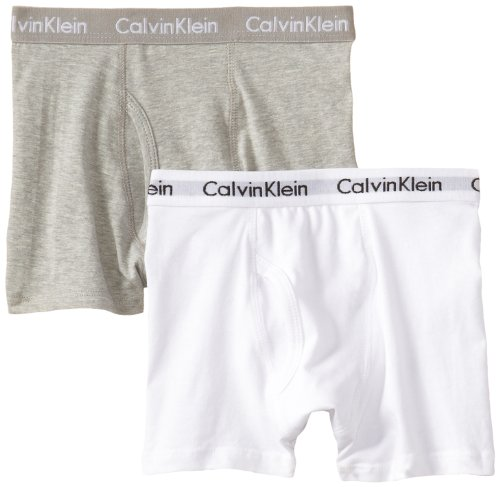 Calvin Klein Big Boys' Assorted 2 Pack Boxer Briefs, Gray/White, (Calvin Klein Boys Underwear)