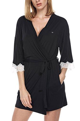 Ekouaer Damen Bademantel Kurze Morgenmantel Kimono mit Spitze Negligee