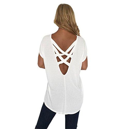 - Willsa Women Bllouse,Wilsa Summer O Neck Short Sleeve Solid Sexy Open Back Casual Tops T Shirts