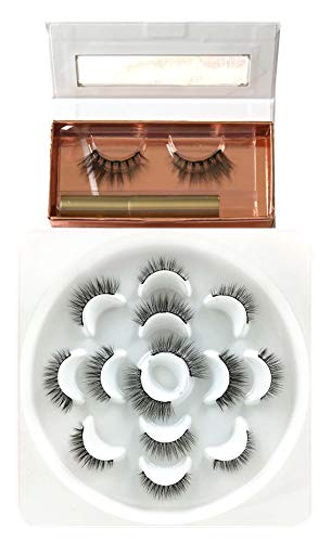 JJMG Magnetic Eyelashes Work with Magnetic Eyeliner 7 Pair Easy-To-Wear Mess-Free Light Weight Magnetic Beauty Enhancer Dramatic Looking False Eyelashes with replacement lashes Set (Best Easy To Use Eyeliner)