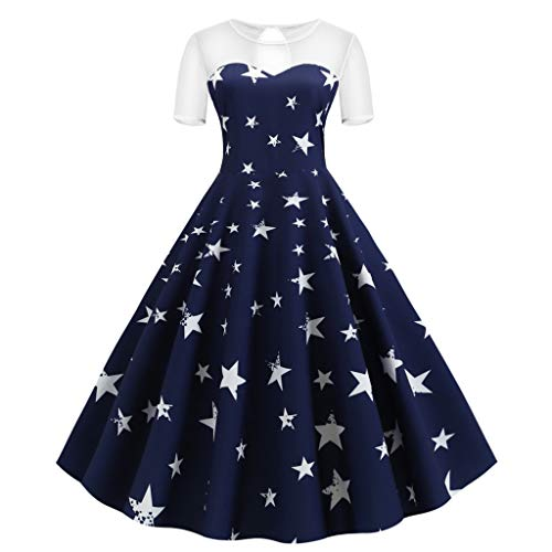 Todaies Women Vintage Sleeveless V Neck American Flag Printing Evening Party Swing Dress (2XL, Blue 2)