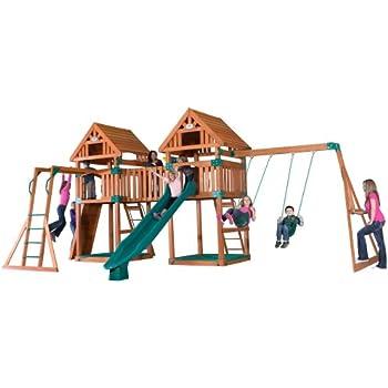 Amazoncom Backyard Discovery Skyfort II All Cedar Wood Swing