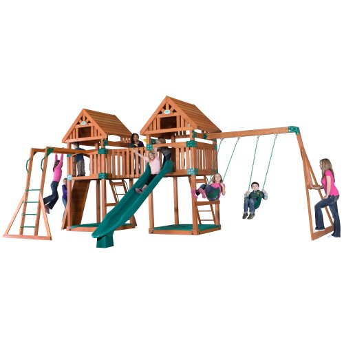Backyard Discovery Kings Peak All Cedar Wood Playset Swing Set