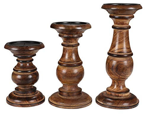 (Candle Holder Stand Wooden, Candalbras, Candle Holders, Unity Candle Holders, Rounded Turned Colums, Country Style Idle Gift for Wedding, Party, Home, Spa - 10,8,6 Inch Set of 3 - Burnt)