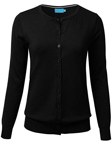 FLORIA Women Button Down Crew Neck Long Sleeve Soft Knit Cardigan Sweater Black L