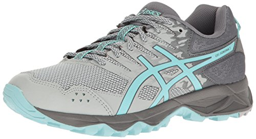 ASICS Women's Gel-Sonoma 3 Trail Runner, Mid Grey/Aqua Splash/Carbon, 5.5 D US