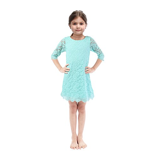 Lilytots Rustic Flower Girls Lace Vintage Wedding Party Dress With Sleeves (2T, Aqua)