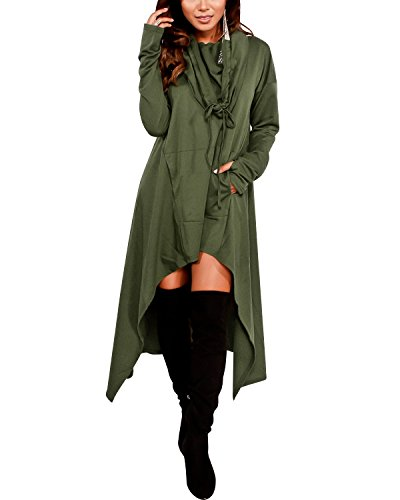Gikim Women's Plus Size Hoodies Dress with Pockets Loose Fit Pullover Sweatshirt Dress Army Green XL Fit Pullover