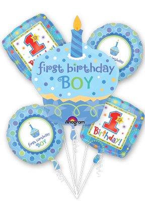 (1ST FIRST BIRTHDAY BOY CUPCAKE 5 Balloon Bouquet Kit w/Ribbons)