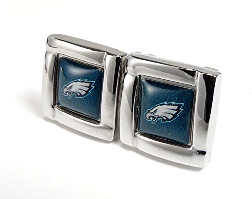 aminco NFL Philadelphia Eagles Womens NFL Sports Team Logo Square Cufflinks with Gift Box Set, Silver, One Size