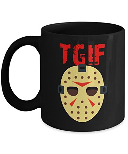TGIF Funny Thank God It's Friday Halloween Scary Movies - Happy Halloween Day Coffee Mugs Gift Coffee Cup - Halloween Gifts for Men, Women, Kids, Mom, ()