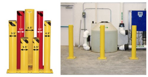 """Steel Bollard, 5.5"""" OD x 24"""", 1/4"""" base plate, Red , Black plastic cap and black striped band at top"""