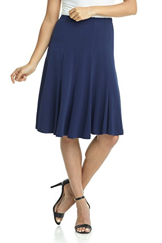 (Rekucci Women's Ease into Comfort Flared Knee Length Knit Skirt (Large,Navy))